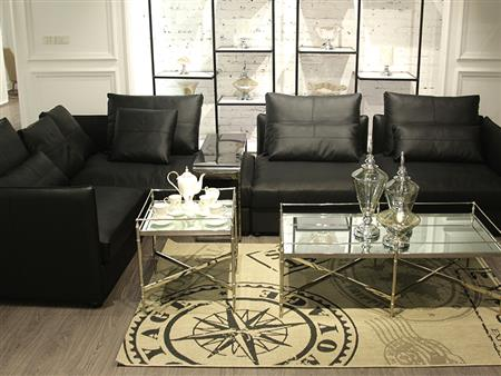 Leather sofa with glass coffee table